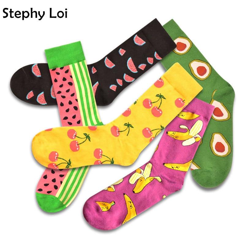 Hip Hop Happy Socks Men Banana Avocado Sushi Fruits Gift Winter Harajuku Funky Novelty Designer Brand Cool Crazy INS Black Taco