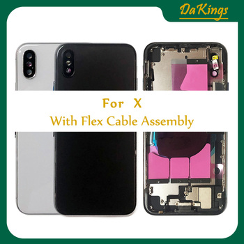 For Iphone X Full Housing Battery Back Cover Door Rear Case Middle Frame Chassis with Glass + Back Glass with Flex Cable CE US original for sony xperia xz f8332 f8331 housing battery cover door rear cover chassis frame back cover case housing with logo