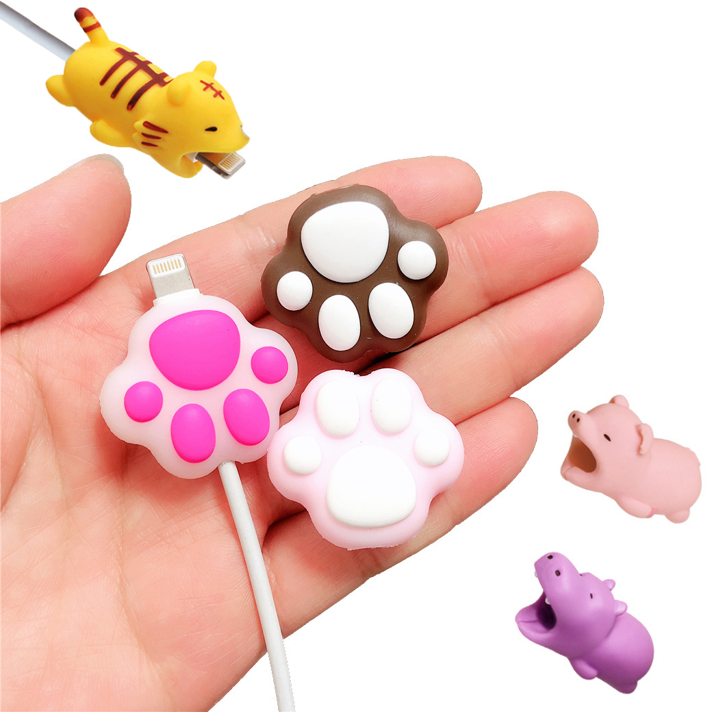1 Pcs Cat Claw Animal Cartoon Cable Bites Protector For Iphone Stress Relief Toys Accessory Toy Gift