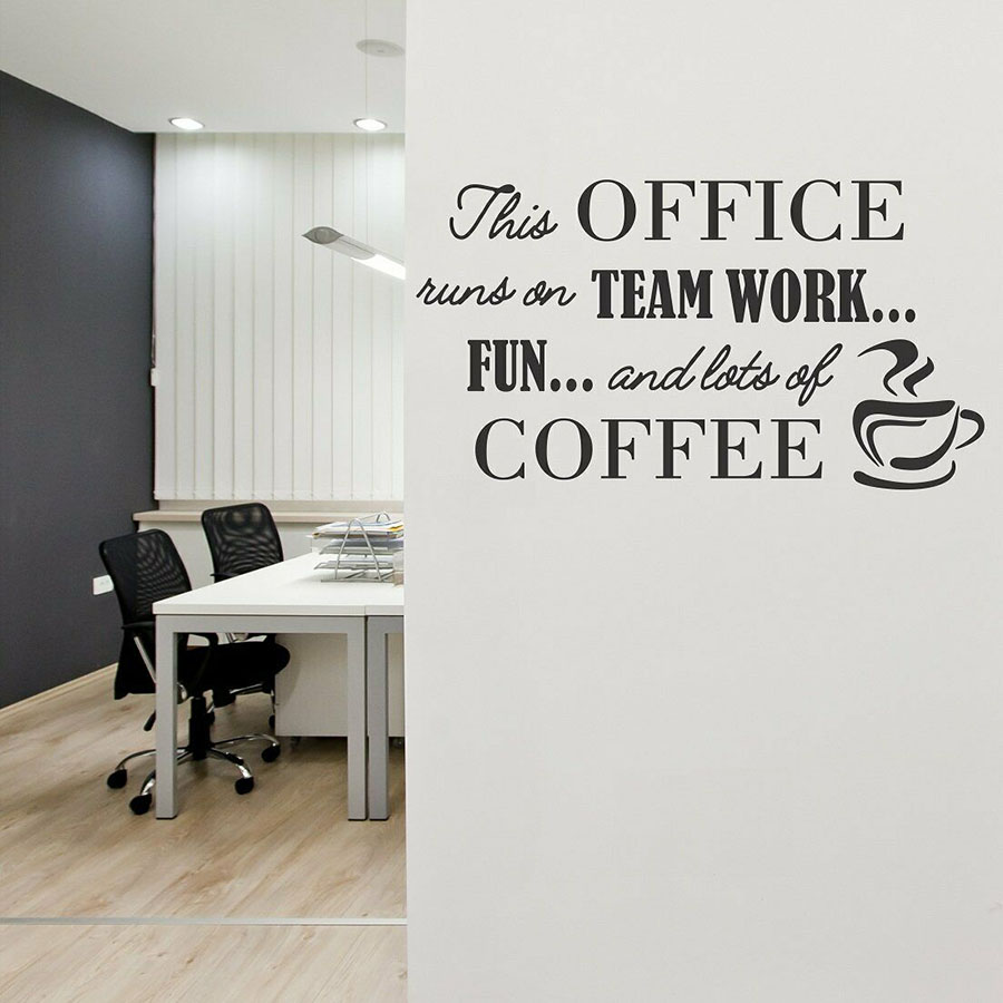 team work quotes wall sticker lettering mural cafe coffee shop