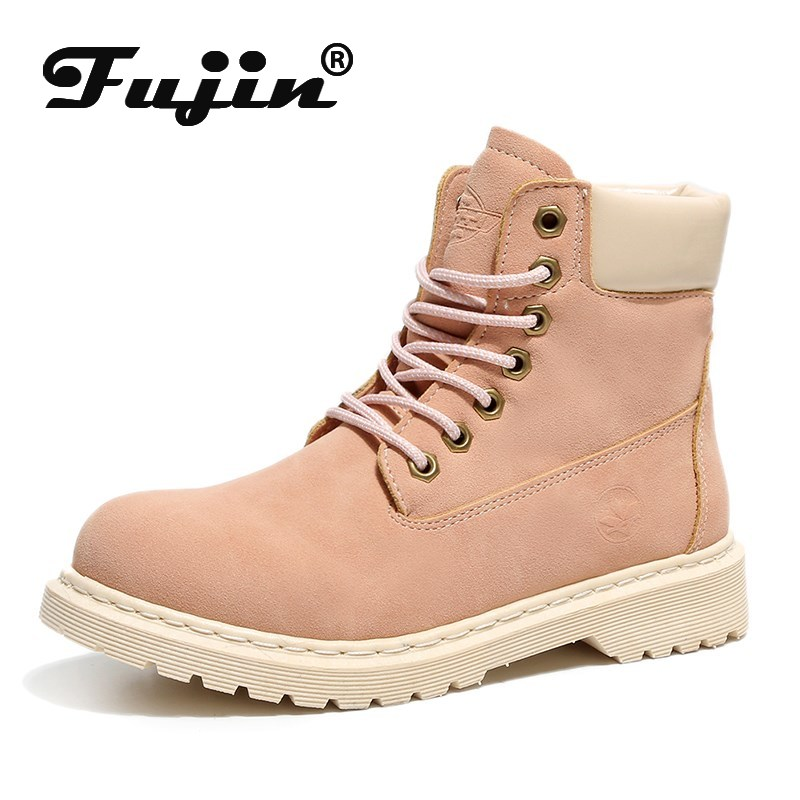 Fujin Boots Women Winter Fashion Female Warm Leather Shoes Work Ankle Boot for Ladies Short