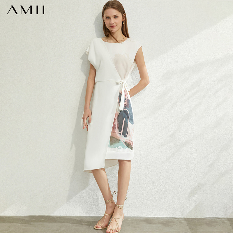 AMII Minimalism Spring Summer Printed Temperament Women Dress Causal Oneck Sleeveless High Waist Female Dress 12070235