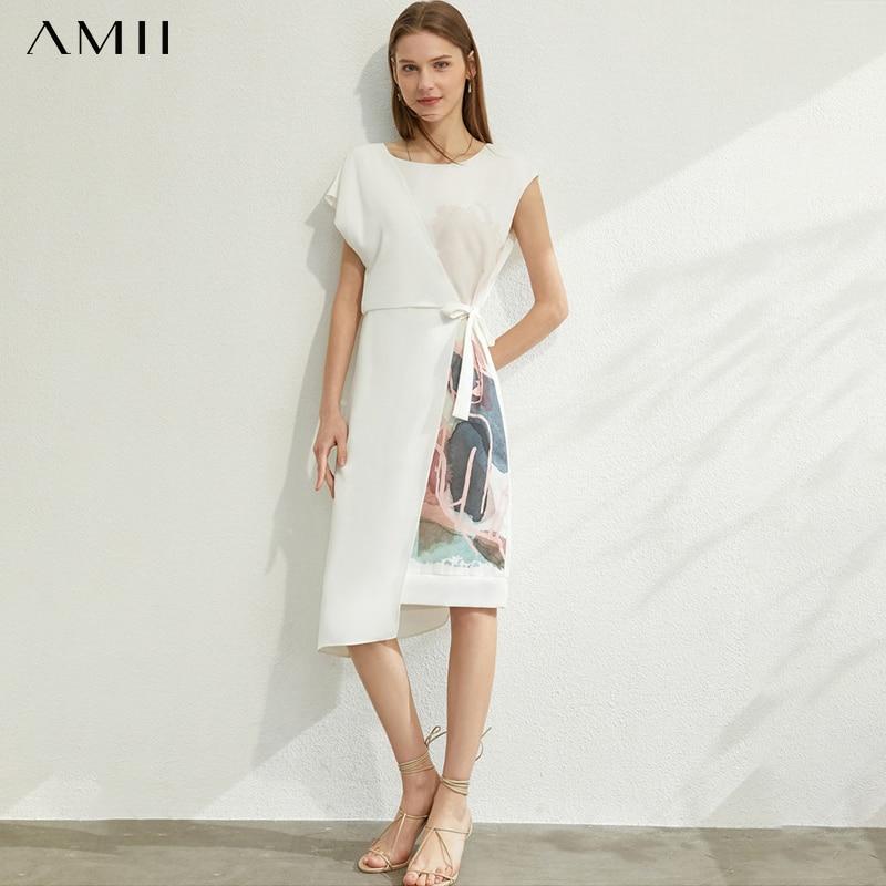 AMII Minimalism Spring Summer Printed Temperament Women Dress Causal Oneck Sleeveless High Waist Female Dress 12070235