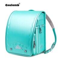 Coulomb Children Japanese School Bag For Girls Kid Orthopedic Backpack For Students Japan PU Randoseru Bookbag Baby Bag 2020 New