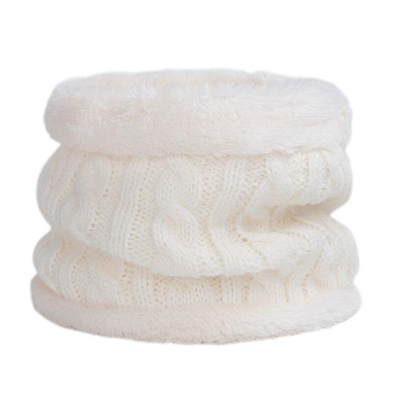 Круглый зимний шарф, детские милые вязаные шарфы, детские вязаные толстые бархатные кольца, мягкий теплый шейный платок для малышей из хлопка - Цвет: White