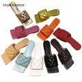Mulher lflat sandália chinelos flip flops várias cores pele de carneiro couro quadrado toe slides mulas 2020 venda quente sandália praia