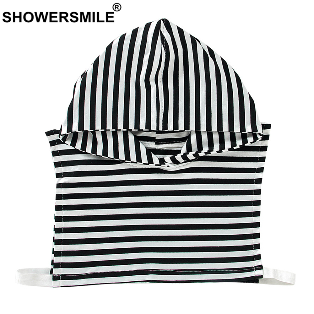 SHOWERSMILE Black White Fake Collar With Hat Women Cotton Korean Fashion Detachable Collar Spring Summer Ladies False Collars