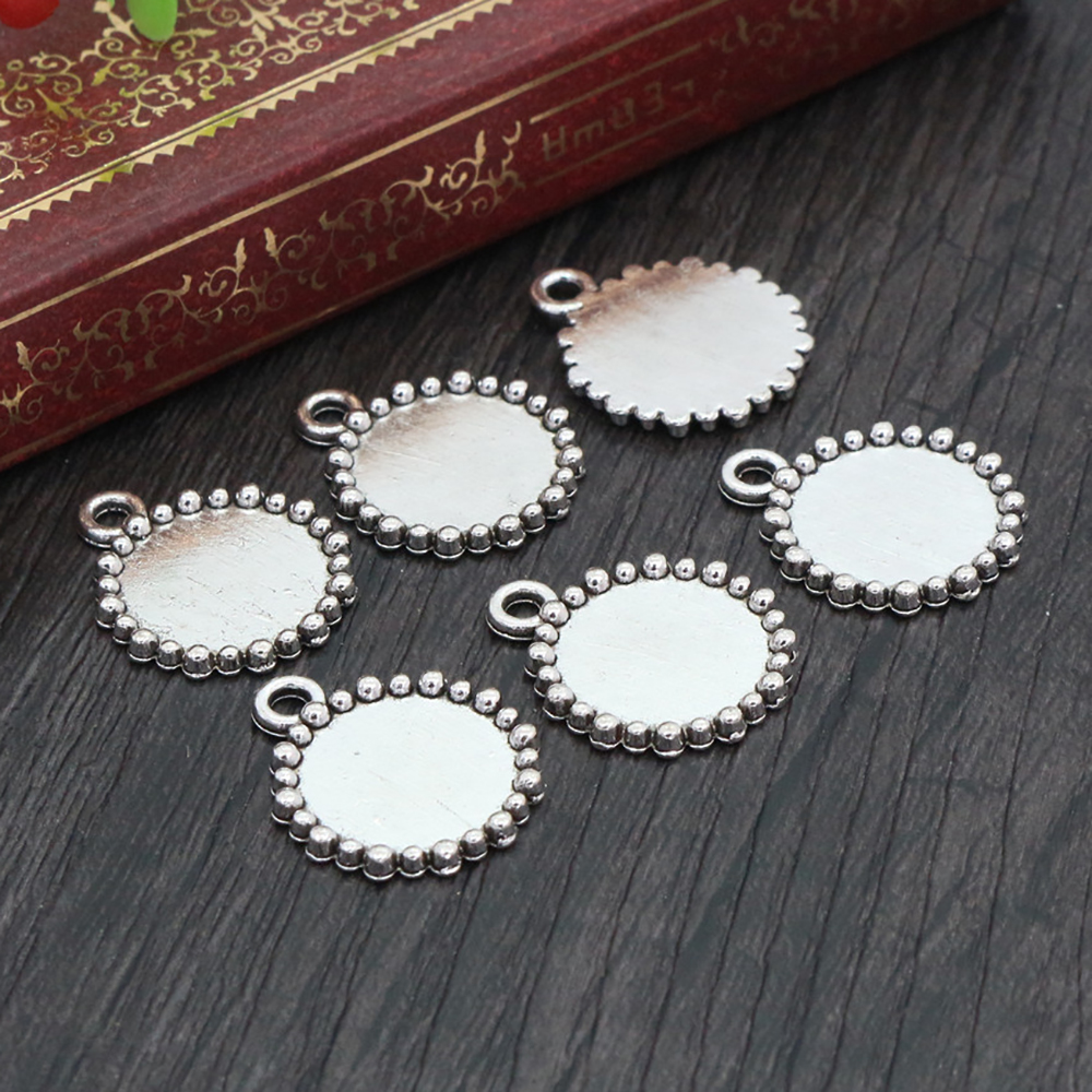20pcs 12mm Inner Size Antique Silver Simple Style Cabochon Base Cameo Setting Charms Pendant (A2-04)