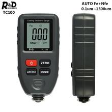 R&D TC100 ציפוי עובי מד 0.1 מיקרון/0 1300 צבע מכונית סרט עובי Tester Meter מדידת FE/NFE רוסית ידנית צבע כלי