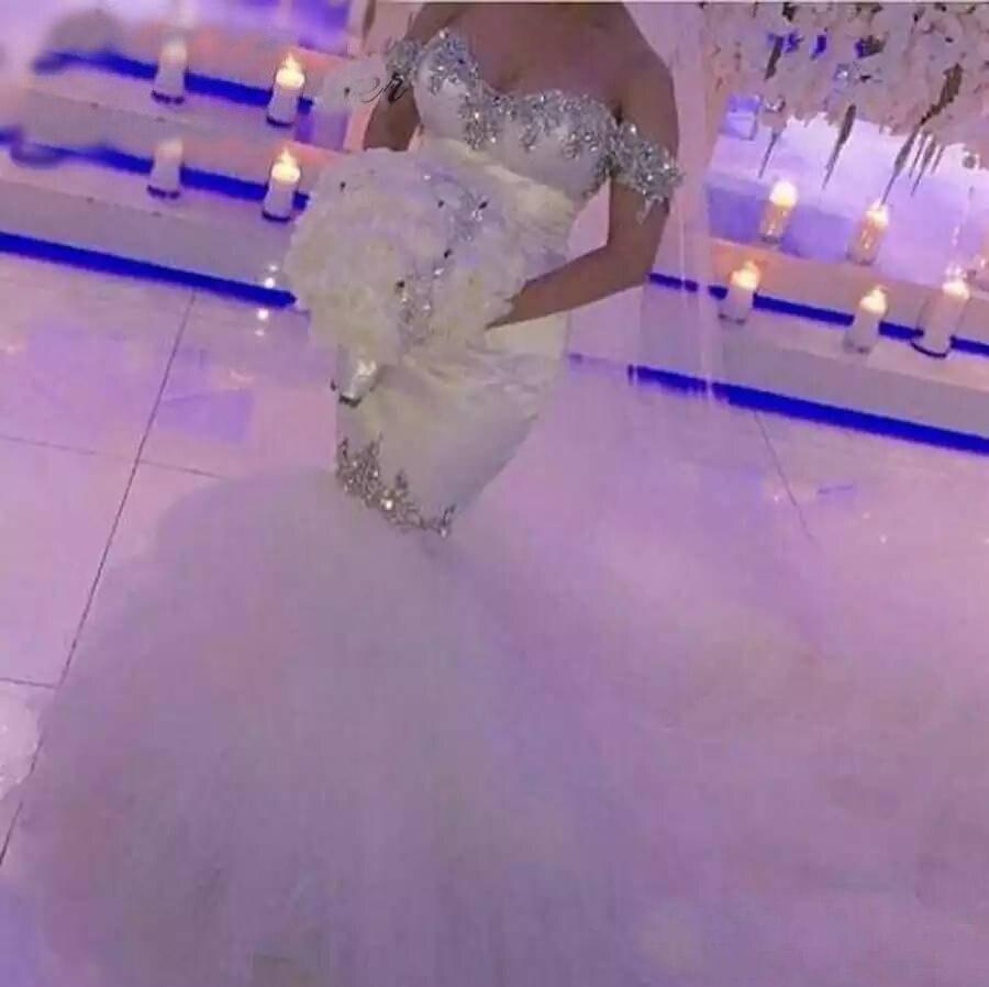 Dress For Wedding Off The Shoulder Satin Crystals Beading Mermaid Wedding Court Train Vestido De Fiesta Court Train