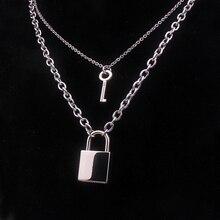 Retro Trend Double Chain Necklace Heart Shaped Punk 90s Link Padlock Pendant Women Beautiful