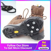 Antypoślizgowe 5 zębów Ice Gripper na buty kobiety mężczyźni raki Ice Gripper Spike Grips knagi na śnieg szpilki wspinaczka piesze wycieczki okładki tanie tanio CN (pochodzenie)
