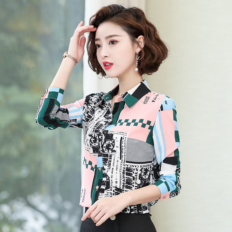 Women's Spring Summer Style Chiffon Blouses Shirts Women's Printed Button Turn-down Collar Printed Casual Tops SP567 10