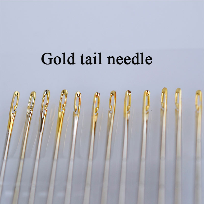 12pcs Multi size Side Opening Gold Tail Needle Darning Stainless Steel Embroidery Sewing Clothes Needles Hand Household Tools G in Sewing Needles from Home Garden
