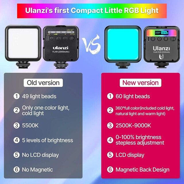 Ulanzi VL49 RGB Video Lights Mini LED Camera Light 2000mAh Rechargable LED Panel Lamp Photo Video Lighting  for Youtube Tik tok 3