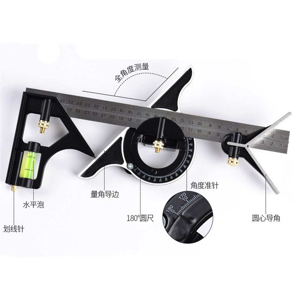90 Angle Stainless Steel Multifunctional Horizontal Square Ruler For Woodworking
