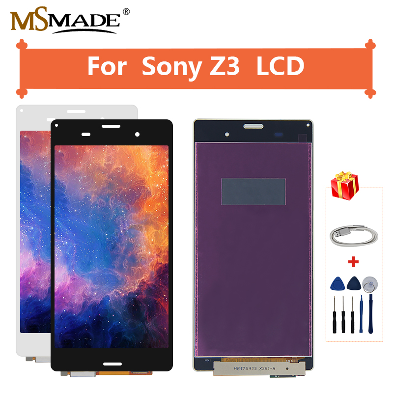 For <font><b>Sony</b></font> Xperia <font><b>Z3</b></font> L55T <font><b>D6603</b></font> D6633 D6653 LCD Display Touch Screen Digitizer Assembly Replacement With Frame Free Shipping image