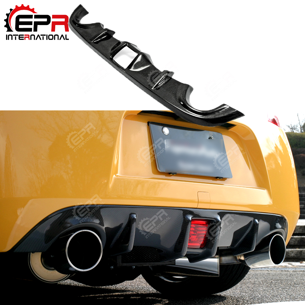 Para nissan 2009 em z34 370z tuning fibra de carbono amortecedor traseiro difusor corrida pára-choques lábio corpo kit guarnição corrida spoiler capa-0