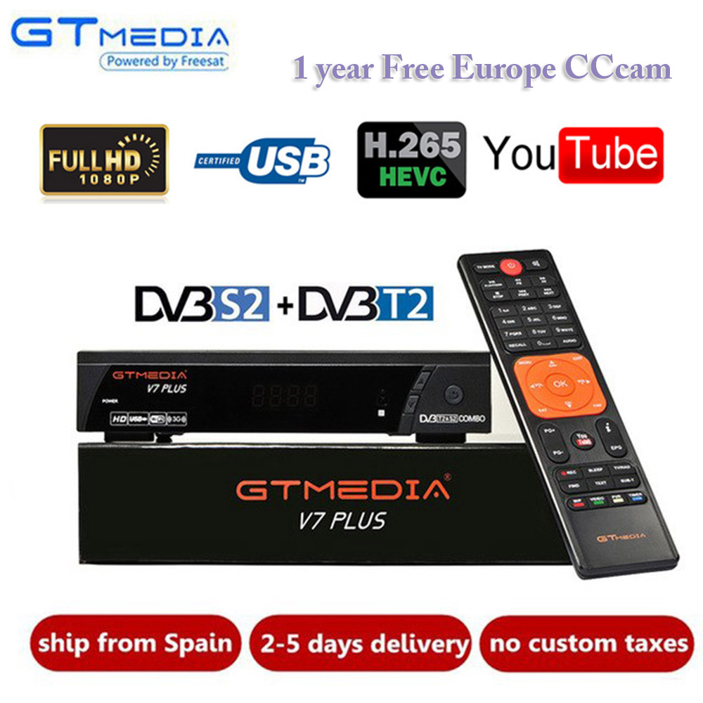 GTmedia V7 Plus DVB-T2/S Digital Receiver Supports FTA H.265/HEVC DVB-S Dvb T2 Hot Sale Europe Russia Czech Republic Germany
