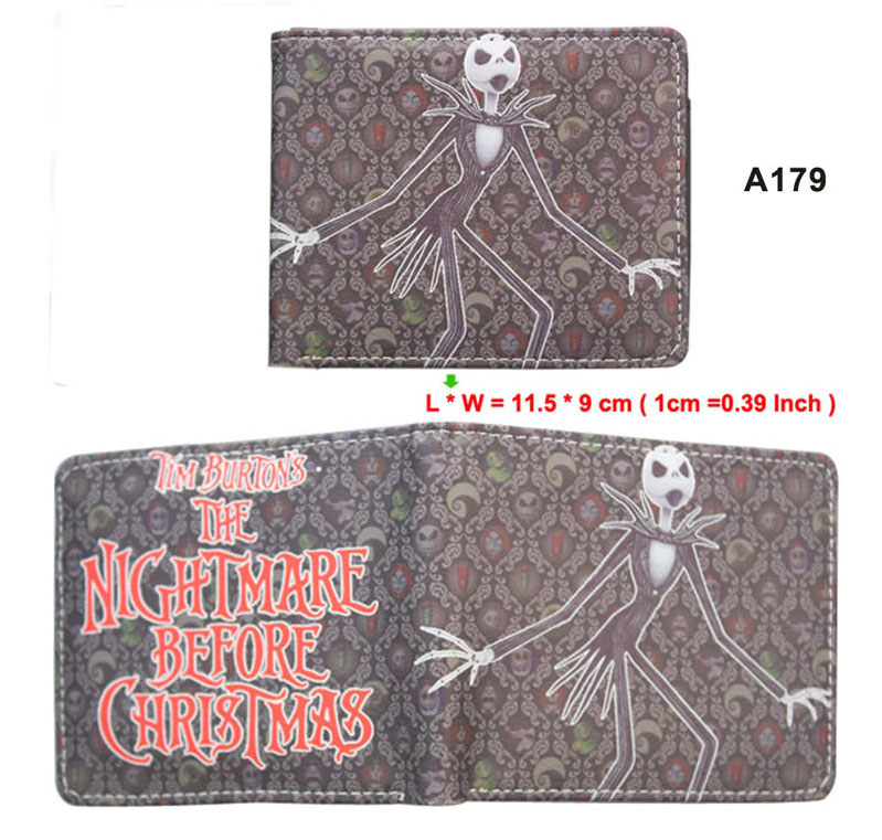 Anime Nightmare Before Christmas Short Leather Wallet Men Women Card Holder Purse Fashion Embossed Gift Money Bag