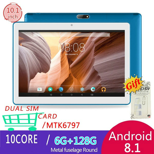 2.5 D Screen Tablets 10.1 Inch Andoid Tablets With 6+128GB Memory Dual SIM Card Phone 4G Call Wifi Tablets With 4G Network