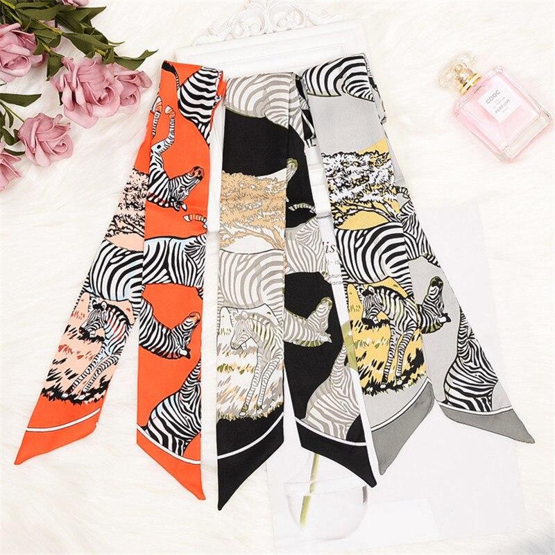 Zebra Print Skinny Bag Scarf 2020 Design Women Silk Scarf  Female Headband Fashion Neckerchief Head Scarf Scarves & Wraps