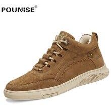 Zapatos de piel auténtica para hombre, zapatillas informales a la moda, con cordones, de goma, para invierno