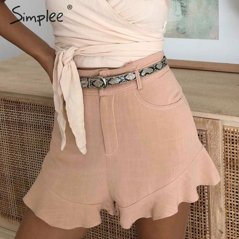 Simplee Elegant Ruffled Female Shorts High Waist Solid Wide Leg Women Shorts Casual Streetwear Summer Style Ladies Shorts Skirt