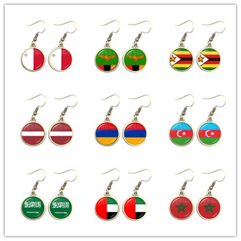 Flaga narodowa upuść kolczyki Malta Zambia Zimbabwe łotwa Armenia azerbejdżan Arabia saudyjska zea maroko biżuteria dla kobiet prezent