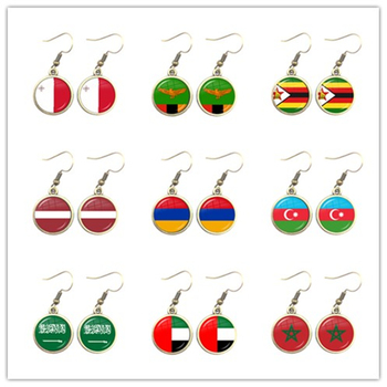 National Flag Drop Earrings Malta Zambia Zimbabwe Latvia Armenia Azerbaijan Saudi Arabia UAE Morocco Jewelry For Women Gift image