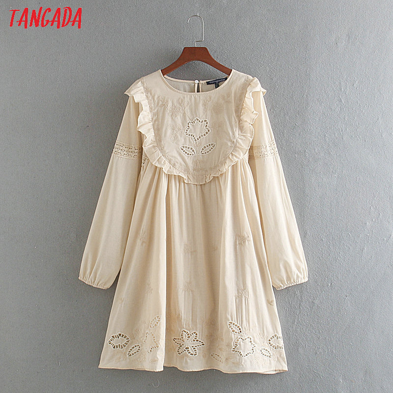 Tangada Women Vintage Embroidery Cotton Dress O Neck Lace Patchwork Long Sleeve 2020 Casual Midi Dresses Vestido CE107