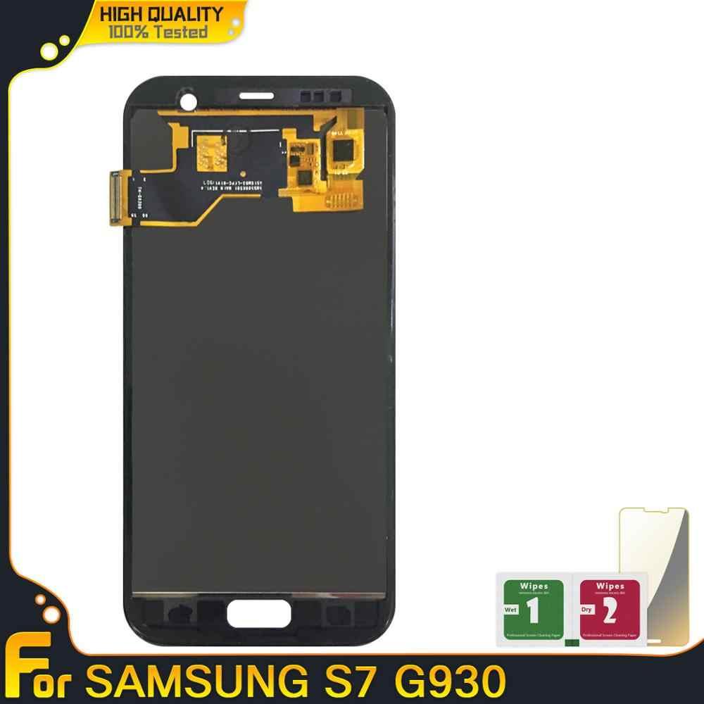 شاشة LCD عالية الجودة عرض لسامسونج غالاكسي S7 G930 مجموعة المحولات الرقمية لشاشة تعمل بلمس G930A G930F SM-G930F LCD استبدال