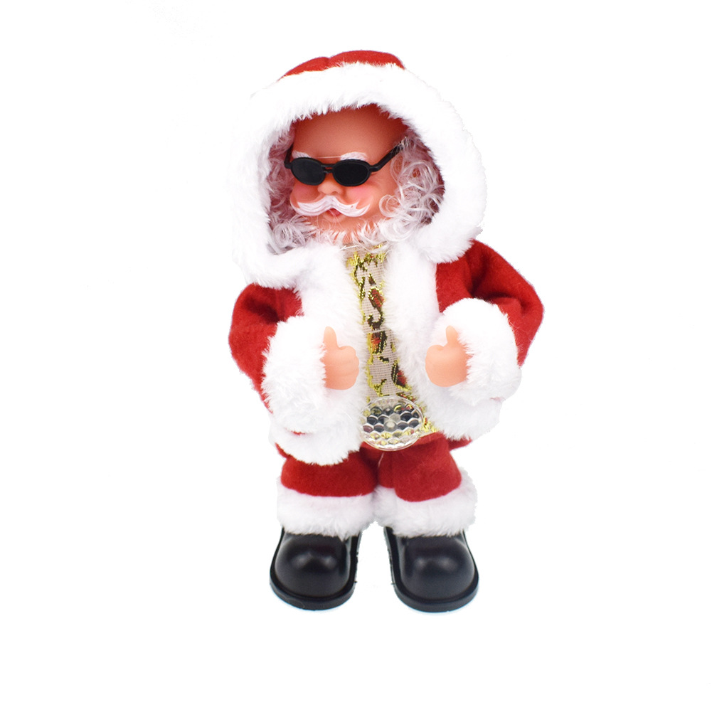 Novelty Funny Will Become Warped Hat Wear Sunglasses Santa Claus Doll With Music Electric Toys Christmas Gift