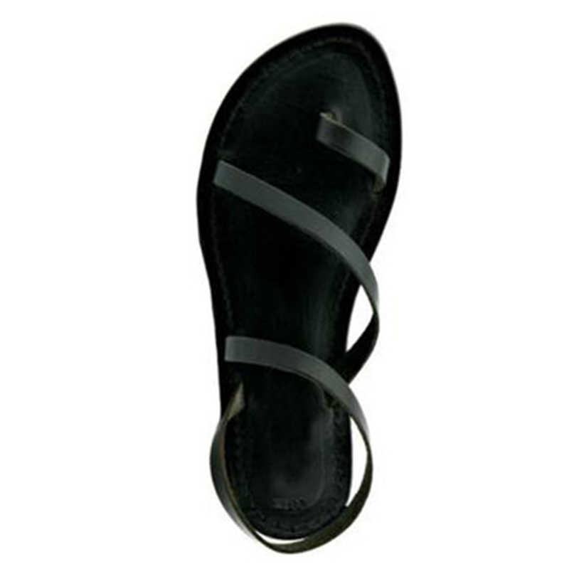 MCCKLE damskie płaskie sandały na lato Rhinestone stringi z wystającym palcem kobieta Pu skórzane Slip na kobiece buty na plażę damskie modne obuwie