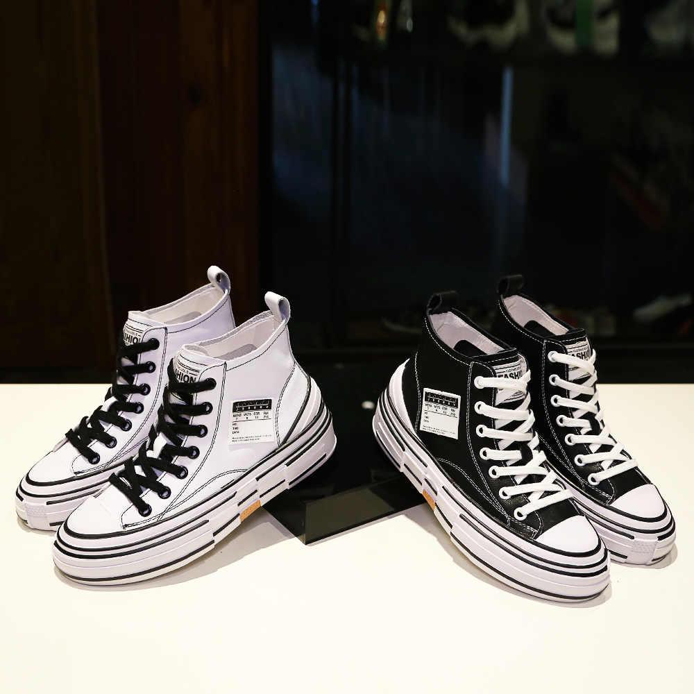 Delle nuove donne Scarpe con Fondo di Spessore di Cuoio Vero e Piccolo Bianco di Modo Gaobang Scarpe Traspiranti Scarpe Per Il Tempo Libero Scarpe di Sicurezza