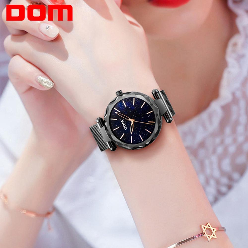 DOM Brand Watch Women Waterproof Watches Fashion Creative Design Black Watch Female Wristwatch Starry Sky Watch Hot G-1244BK-1M