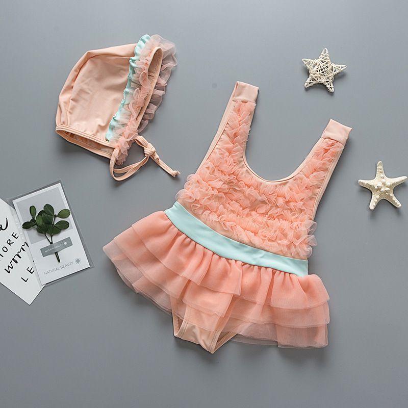A Generation Of Fat One-piece Swimsuit For Children Infants Baby Restonic Sha Skirt Korean-style GIRL'S Swimsuit Two-Piece Set