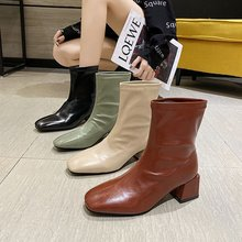 winter fashion short boots female Korean version of thick heel square toe short boots female middle heel Martin boots children