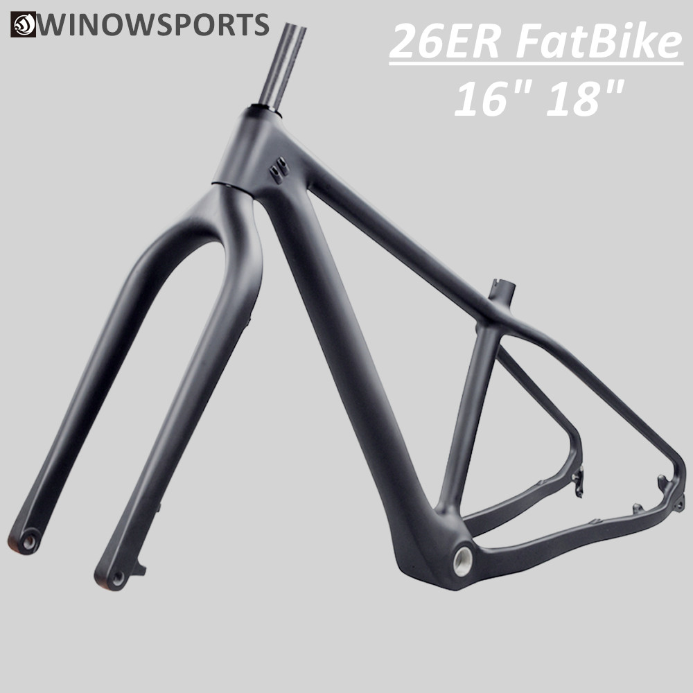 NEW 16/18inch Carbon Fat Bike Frame 26er Carbon Mtb Fatbike Frame 26×4.8 Fat Tires Carbon Mountain Snow Bicycle Road Bike Frame