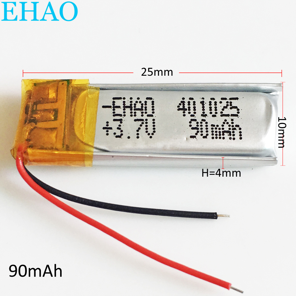 EHAO <font><b>401025</b></font> 3.7V 90mAh Lithium Polymer LiPo Rechargeable Battery For Mp3 headphone recorder DVD bluetooth headset video image