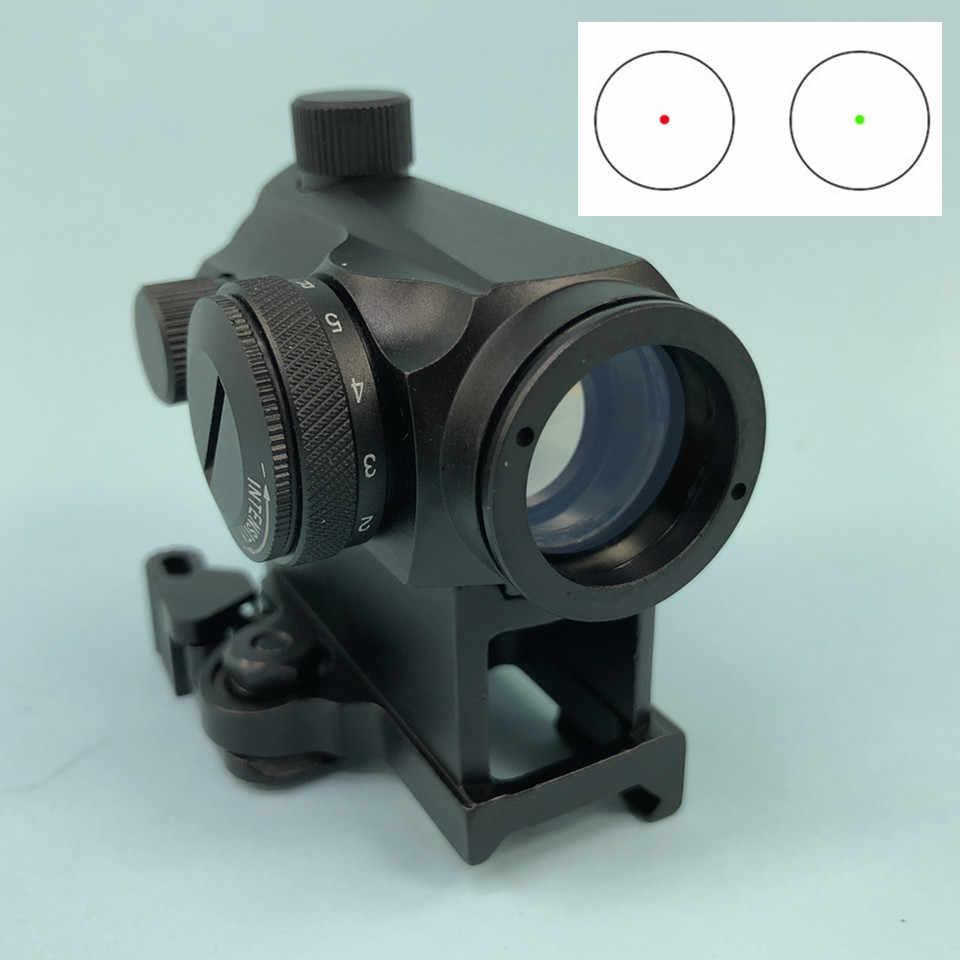 Taktis Mikro 1X24 Mini Merah & Hijau Dot Sight Lingkup Berburu Optik Riflescopes 20Mm QD Tinggi Mount untuk Air senapan