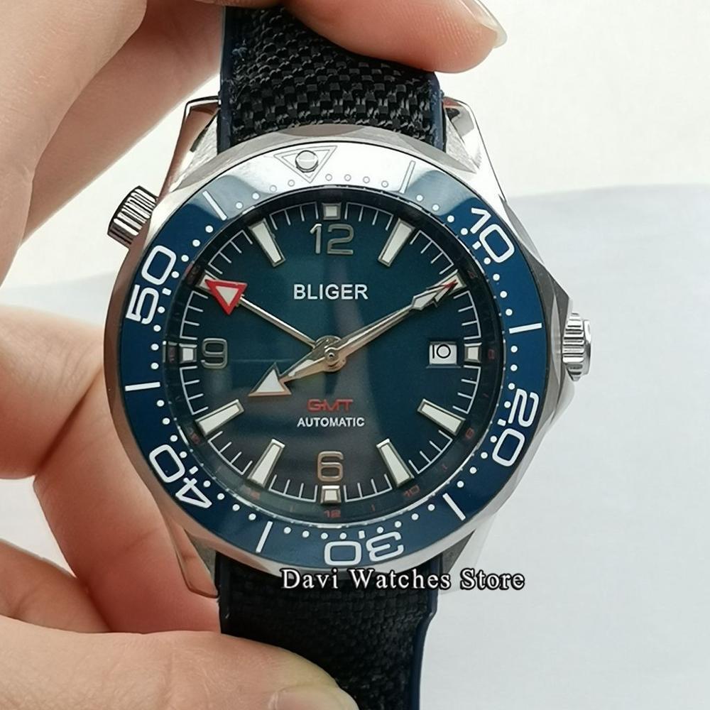 Bliger/Sterile Top 41mm Men's Watch Blue Dial GMT Mechanical Watch Ceramic Bezel Silver Case Crown Watch  Man Automatic Watch