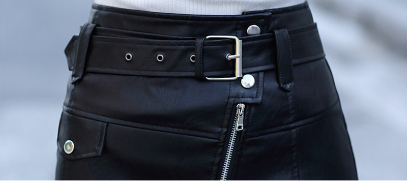 Leather High Waist Vintage A-Line Office Solid Mini Skirt 9
