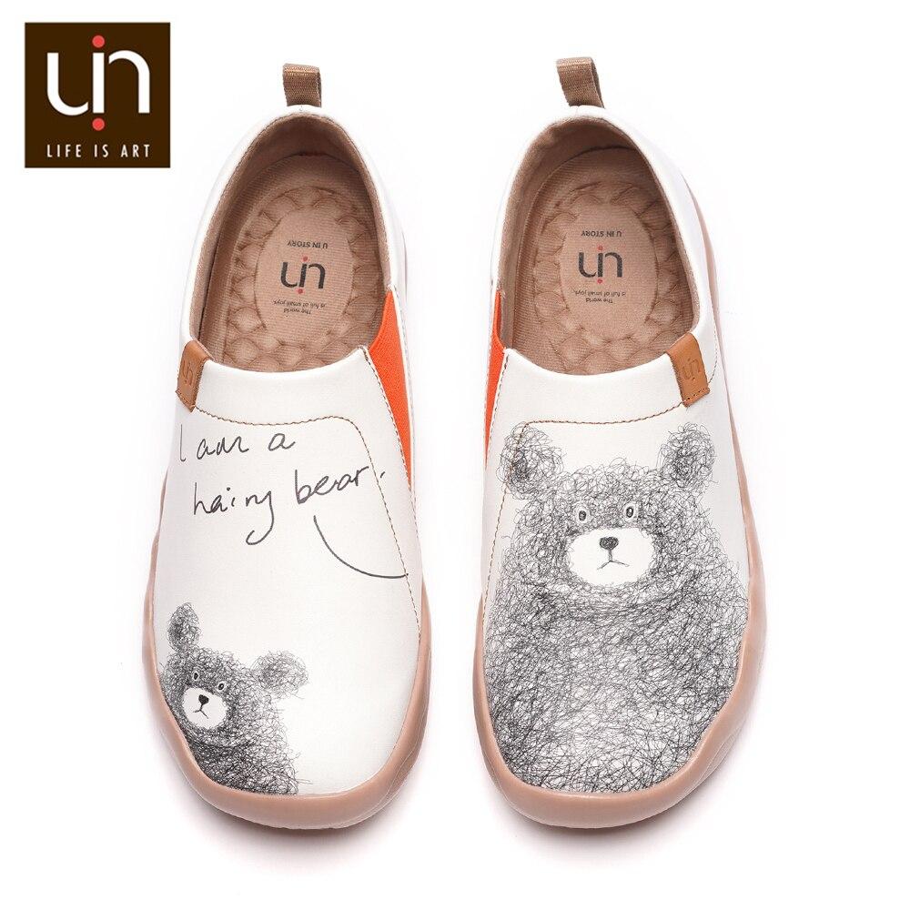 Uin adorável urso design feminino sapatos casuais de couro de microfibra deslizamento em mocassins conforto sapatos de caminhada senhoras moda branco