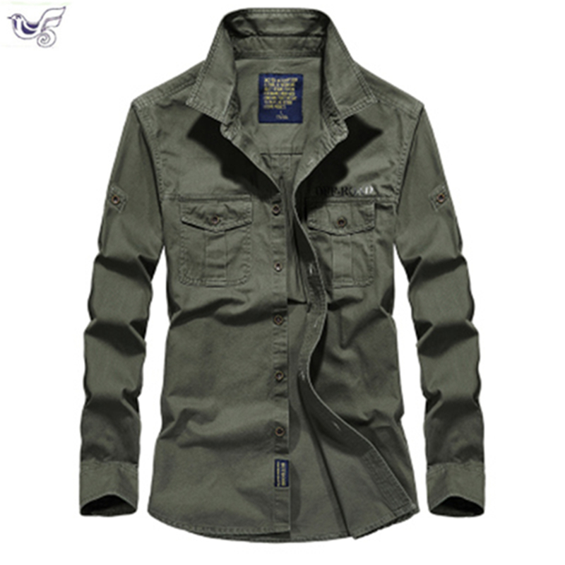 Tactical Shirt Men Clothes 2019 Spring Autumn Military Dress Shirt Mens Cotton Long Sleeve Army Casual Plus Size M-5XL 6XL 7XL