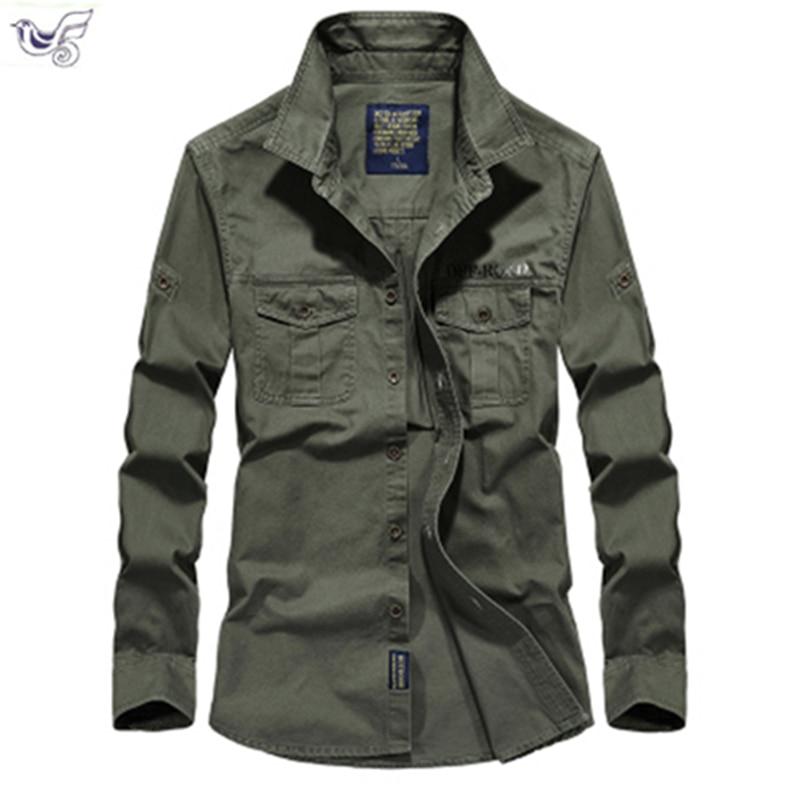 Tactical Shirt Men Clothes 2019 Spring Autumn Military Dress Shirt Mens Cotton Long Sleeve Army Casual Plus Size M-5XL 6XL 7XL