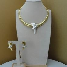 Yuminglai Conjunto de joyería de diseño, conjunto de collar y pendientes de Dubái, FHK8044