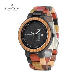 Image 1 - BOBO VOGEL Paar uhr Luxus Marke Holz Uhren Woche Datum Anzeige Quarz Uhren für Männer Frauen Großes Geschenk Dropshipping OEM