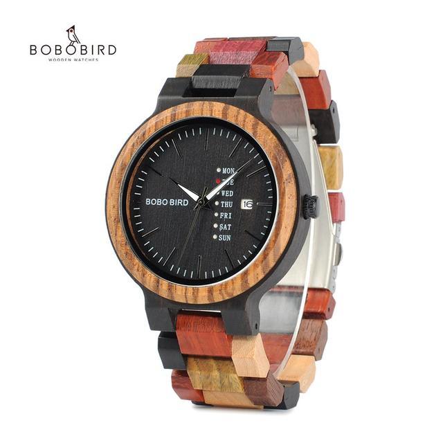 Bobo pássaro casal relógio de luxo marca madeira relógios semana data exibição quartzo relógios para homens feminino ótimo presente dropshipping oem