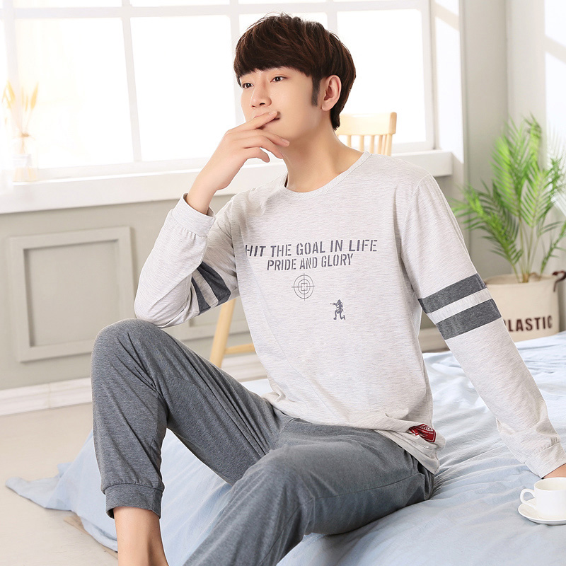 2019 Autumn Cotton Long Sleeve Pajama Sets For Men Sleepwear High Quality Male Underwear Loungewear Pyjama Homewear Home Clothes